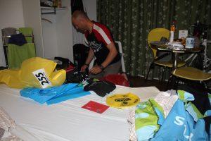 Préparation des sacs du triathlon